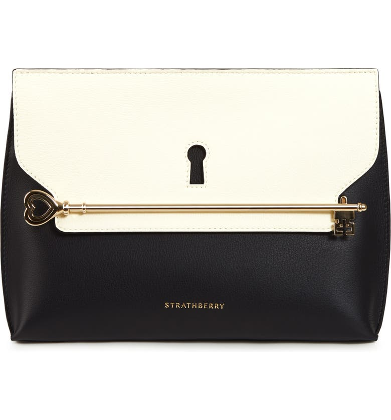 STRATHBERRY East/West Stylist Keyhole Leather Clutch, Main, color, 001