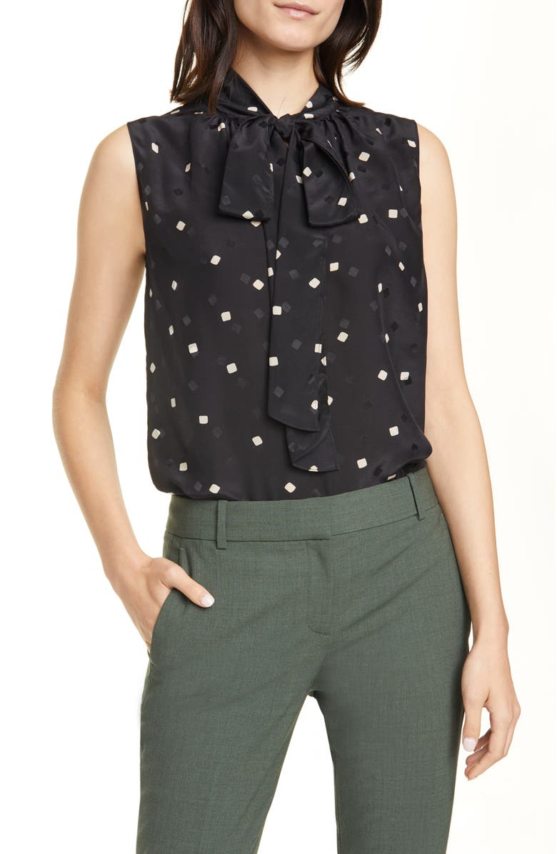 THEORY Square Dot Tie Neck Sleeveless Silk Blouse, Main, color, 001