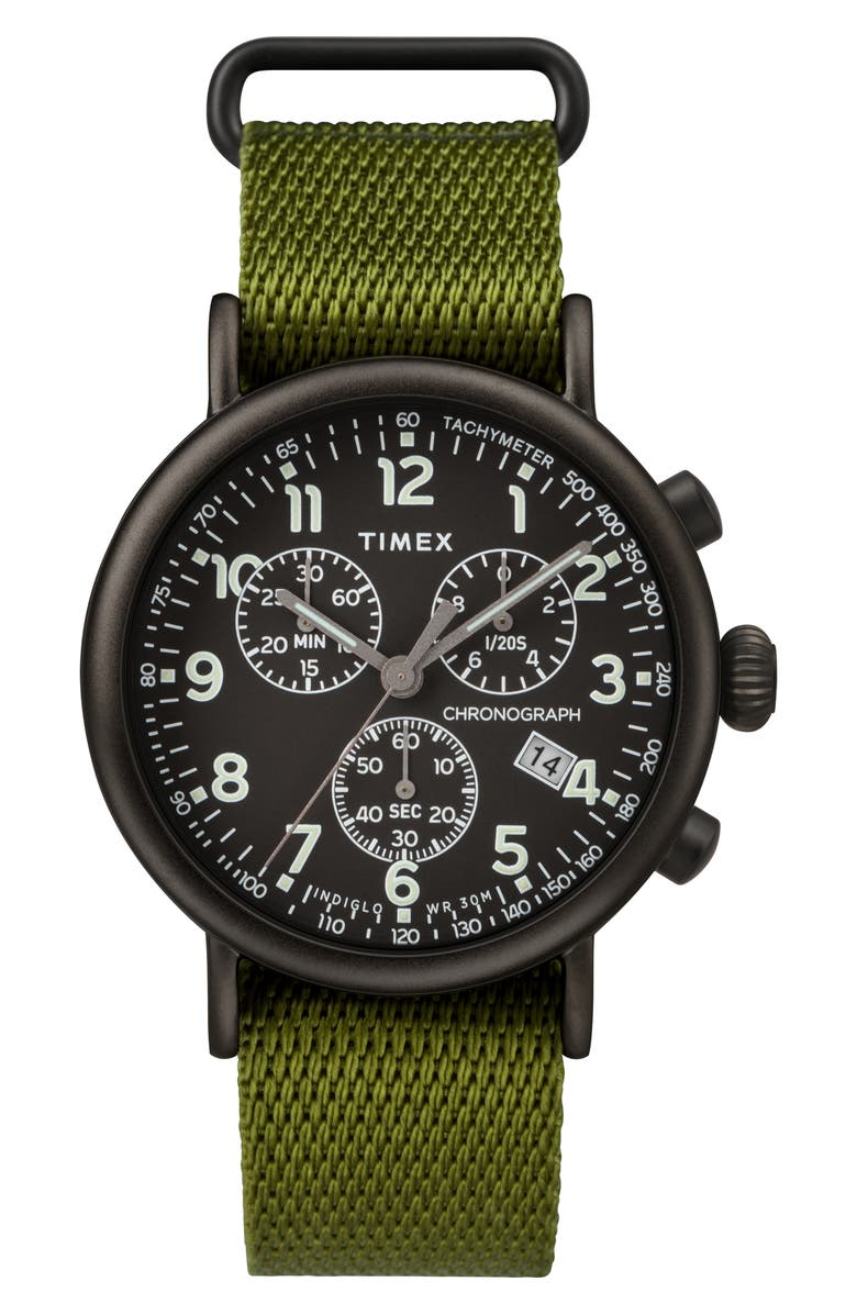 TIMEX<SUP>®</SUP> Standard Chronograph Textile Strap Watch, 41mm, Main, color, OLIVE/ BLACK