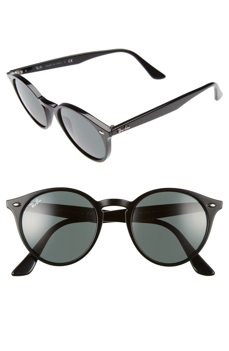 RAY-BAN Highstreet 51mm Round Sunglasses, Main, color, BLACK