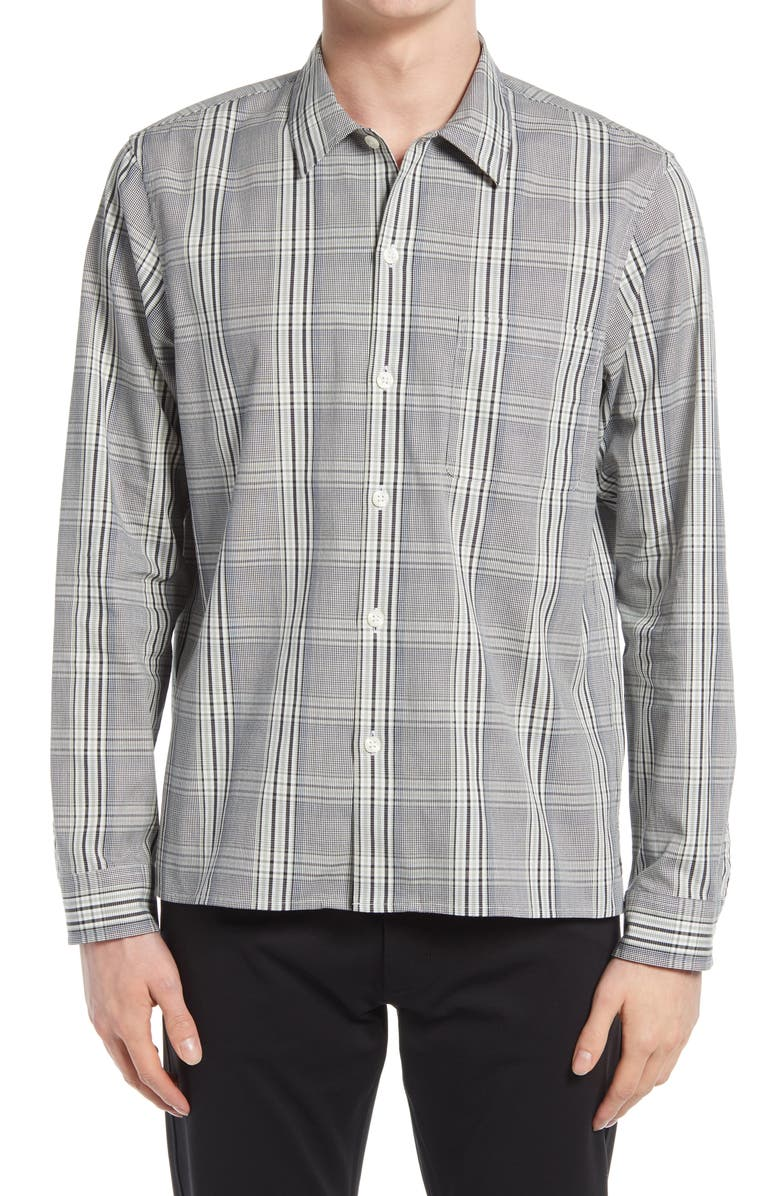 CLUB MONACO Standard Slim Fit Plaid Button-Up Shirt, Main, color, GREY PLAID