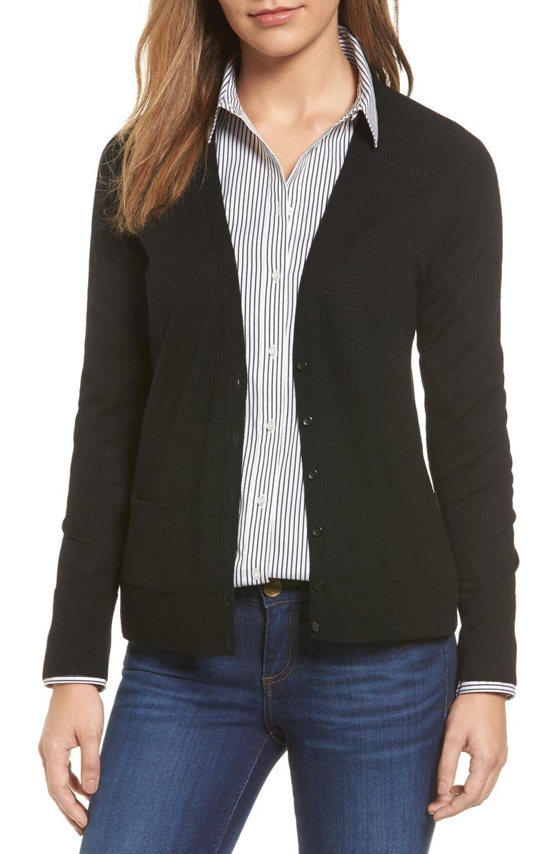 HALOGEN<SUP>®</SUP> V-Neck Merino Wool Cardigan, Main, color, 001