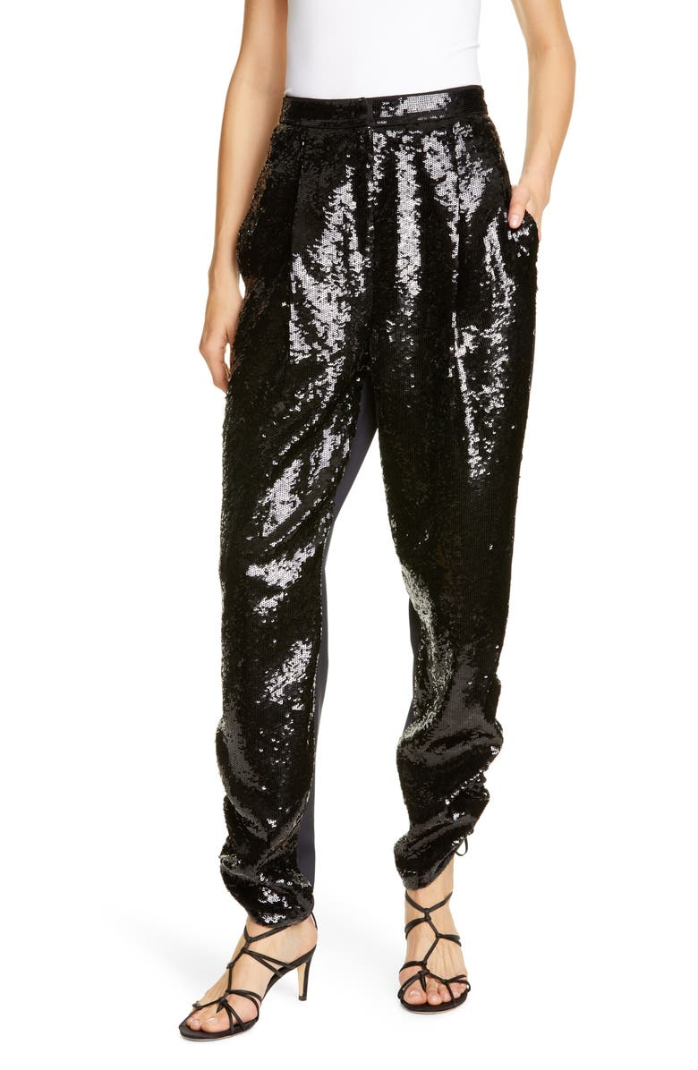 TIBI Sequin Ruched Hem Trousers, Main, color, 001