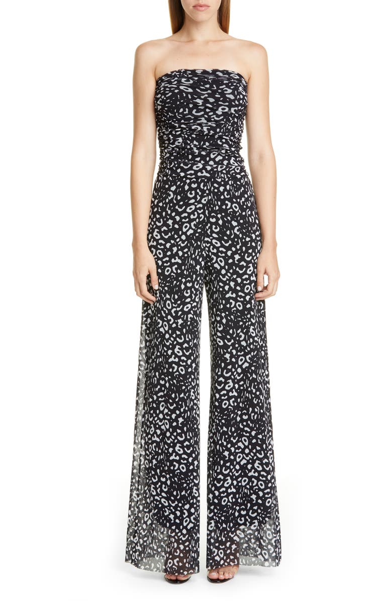 FUZZI Graphic Leopard Print Strapless Jumpsuit, Main, color, 001