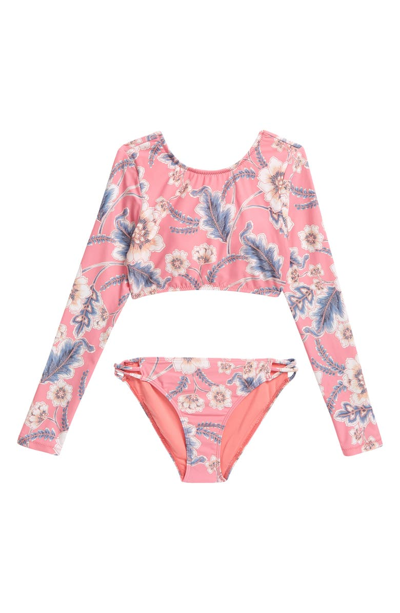 O'NEILL O'Neil Kids' Westerly Floral Long Sleeve Crop Top Set, Main, color, PUNCH WESTERLY FLORAL