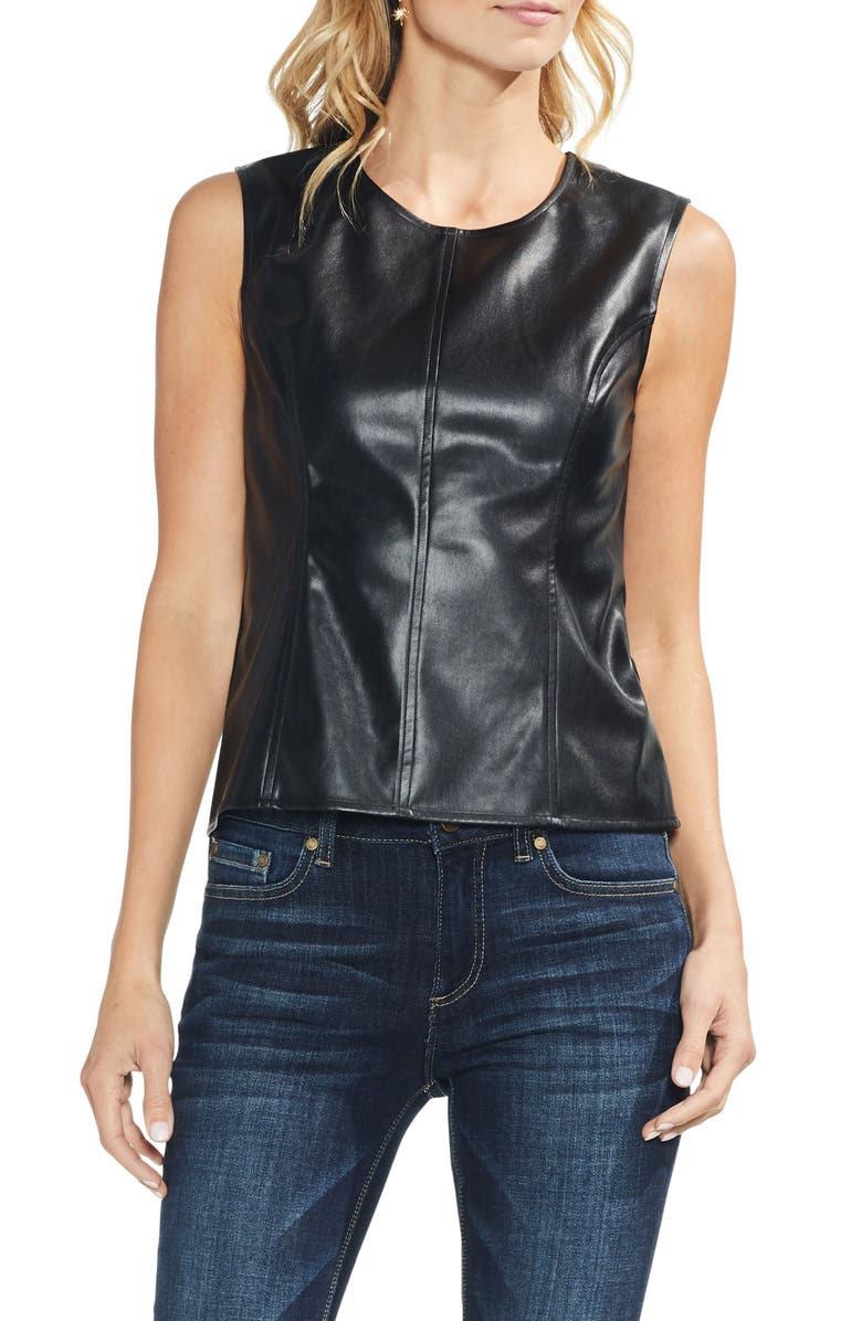 VINCE CAMUTO Faux Leather Front Shell, Main, color, 006