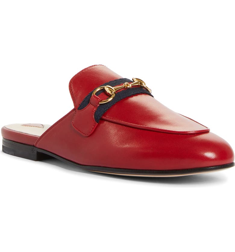 GUCCI Princetown Mule, Main, color, HIBISCUS RED