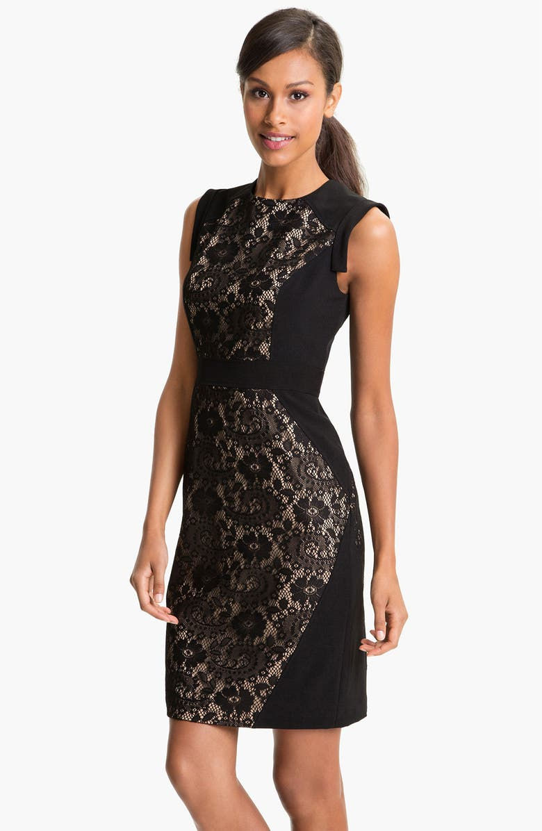 ADRIANNA PAPELL Lace Inset Crepe Sheath Dress, Main, color, 001