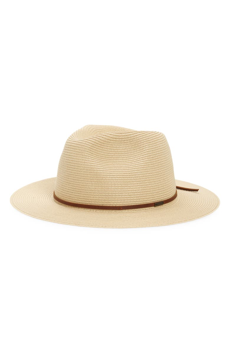 BRIXTON Wesley Packable Straw Fedora, Main, color, TAN