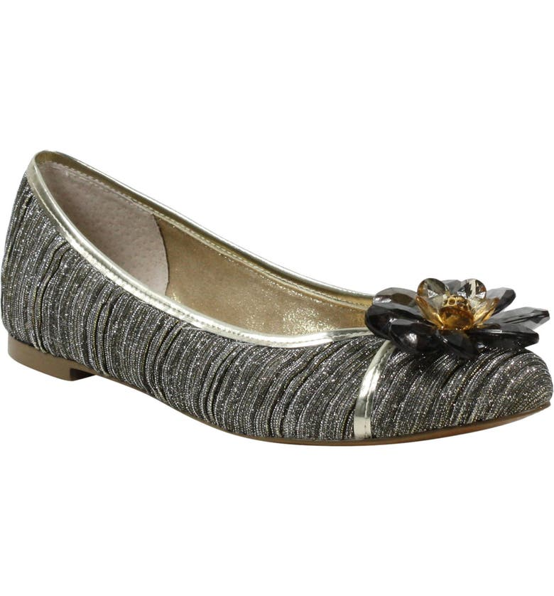 J. RENEÉ Panyin Crystal Flower Metallic Skimmer Flat, Main, color, TAUPE/ GOLD GLITTER FABRIC