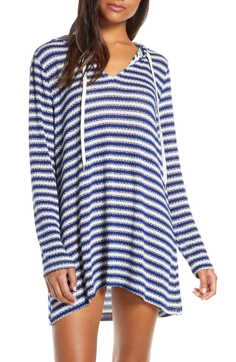 LA BLANCA Slouchy Hooded Sweater Cover-Up Tunic, Main, color, MIDNIGHT