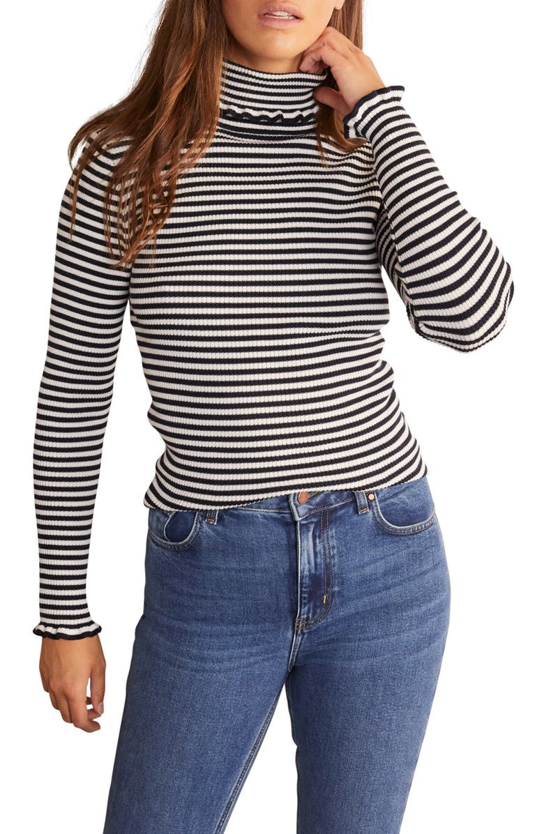 BODEN Frill Turtleneck Cotton Blend Sweater, Main, color, NAVY/ IVORY STRIPE