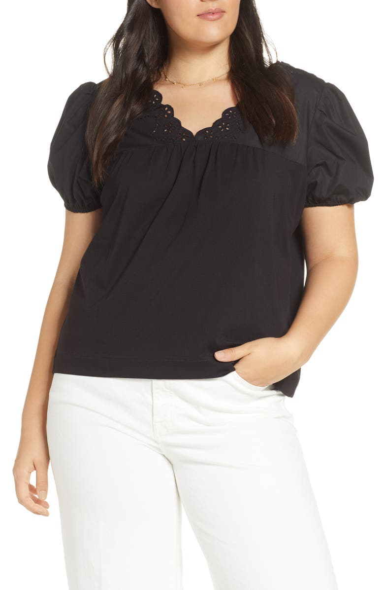 J.CREW Eyelet Top with Puff Sleeves, Main, color, 001
