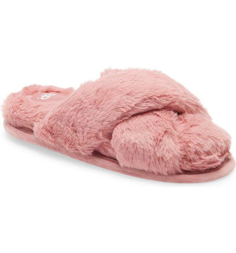 BP. Sophie Criss Cross Plush Bedroom Slipper, Main, color, LIGHT PINK FAUX FUR