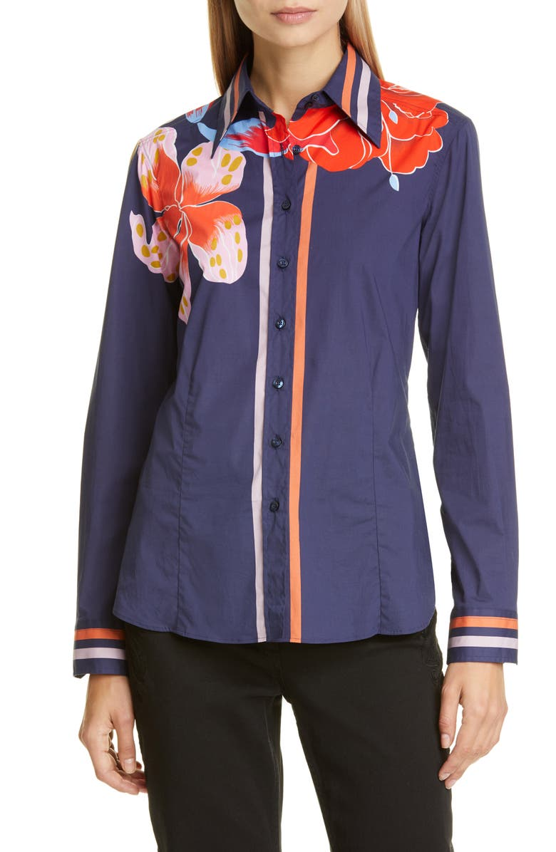 ETRO Pop Lily Print Shirt, Main, color, 410
