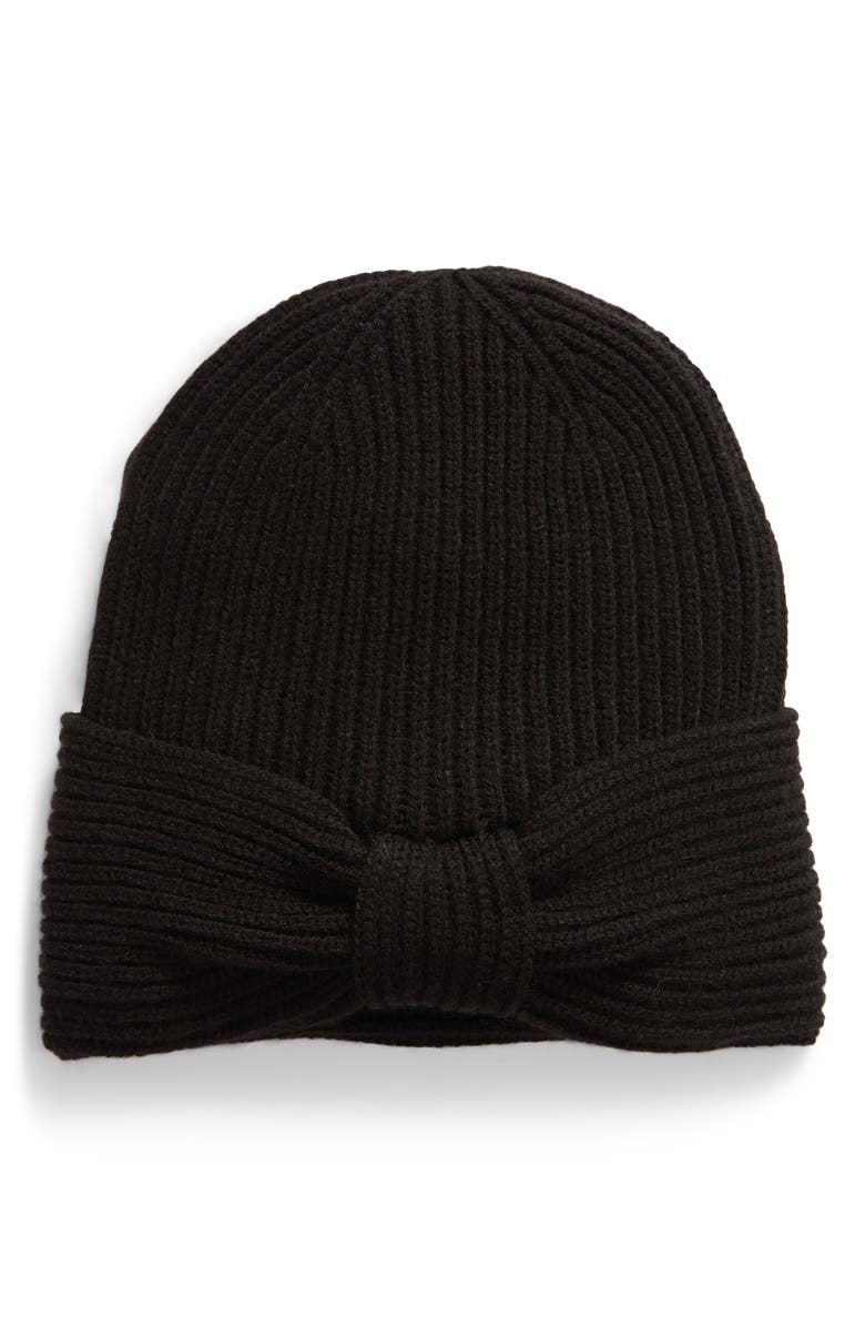 KATE SPADE NEW YORK solid bow reversible beanie, Main, color, 001