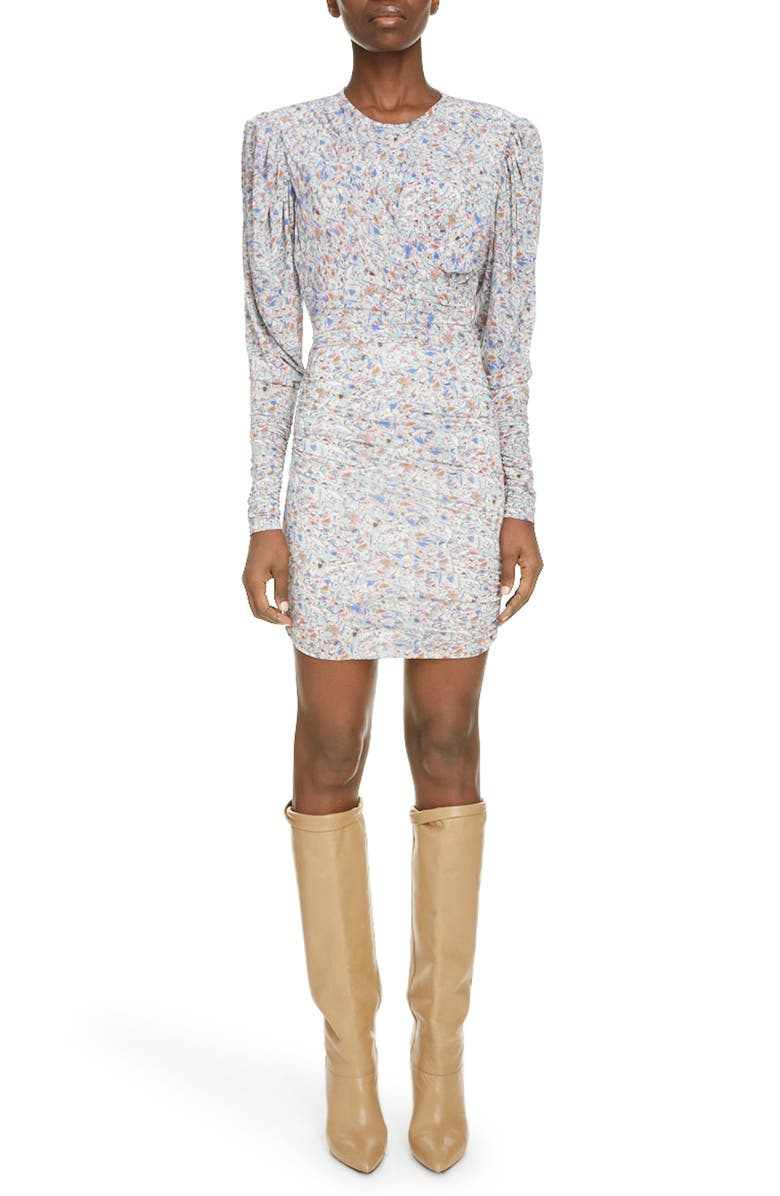 ISABEL MARANT Geo Print Ruched Long Sleeve Minidress, Main, color, MULTICOLOR
