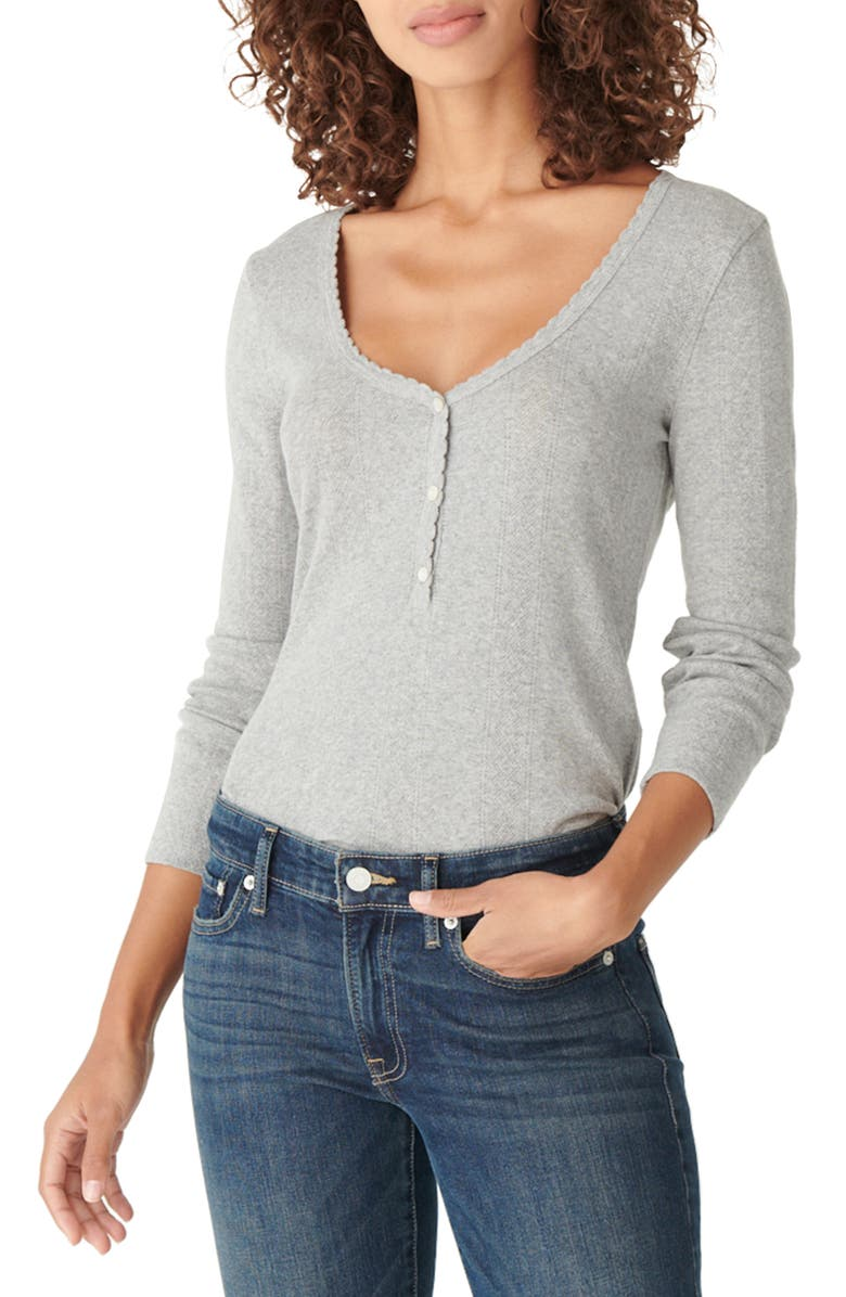 LUCKY BRAND Pointelle Henley Shirt, Main, color, HEATHER GREY