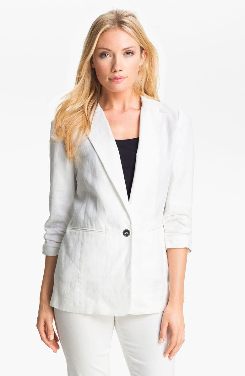 MICHAEL MICHAEL KORS Shirred Sleeve Jacket, Main, color, 100