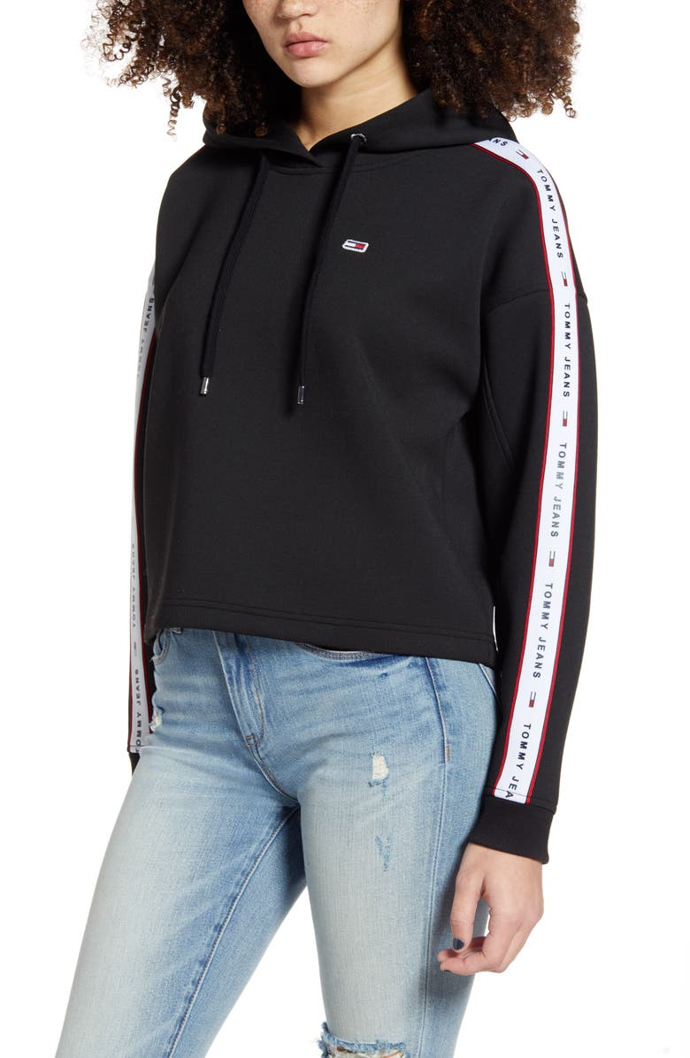 TOMMY JEANS Logo Tape Crop Hoodie, Main, color, 001