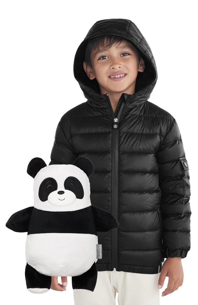 CUBCOATS Papo 2-in-1 Stuffed Animal & Hooded Down Jacket, Main, color, BLACK MARL MIX