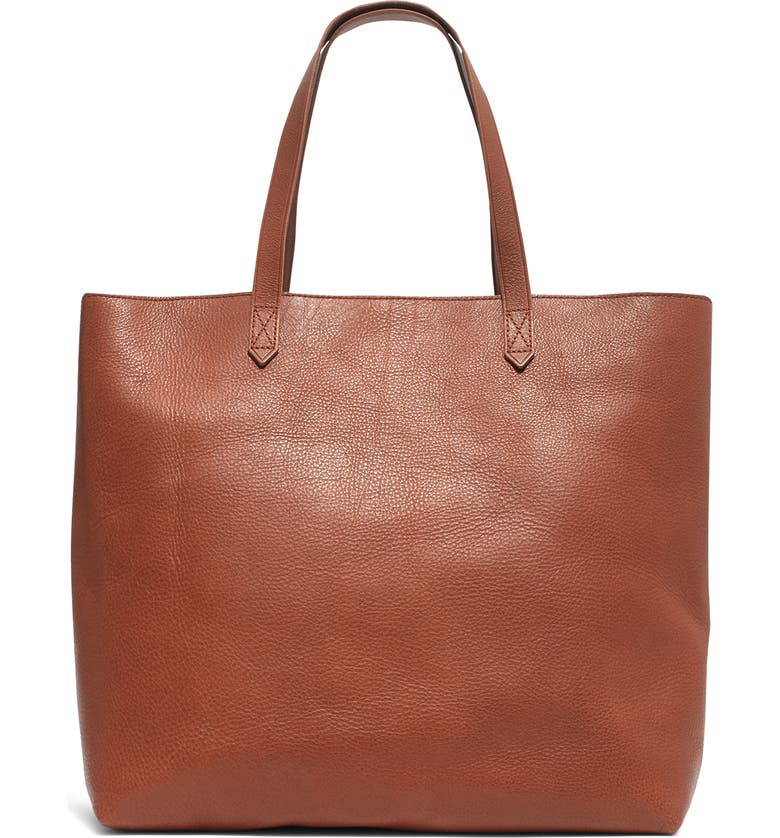 MADEWELL Zip Top Transport Leather Tote, Main, color, ENGLISH SADDLE