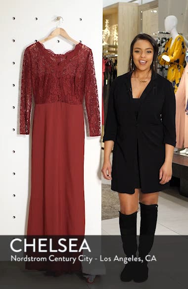 Long Sleeve Lace & Crepe Trumpet Gown, sales video thumbnail