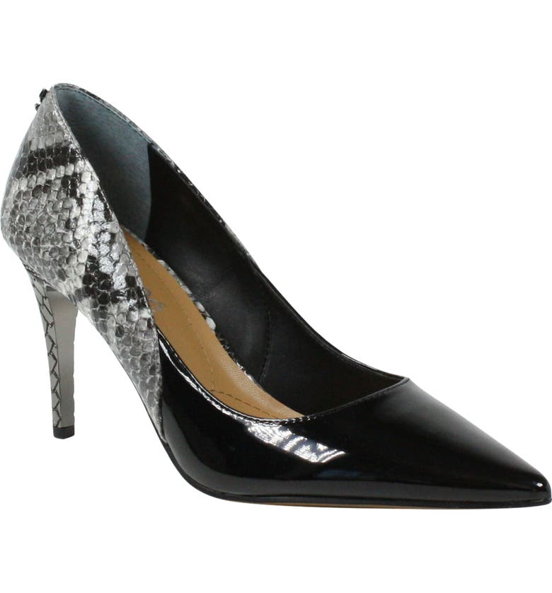 J. RENEÉ Zayd Pointed Toe Pump, Main, color, BLACK/ WHITE FABRIC