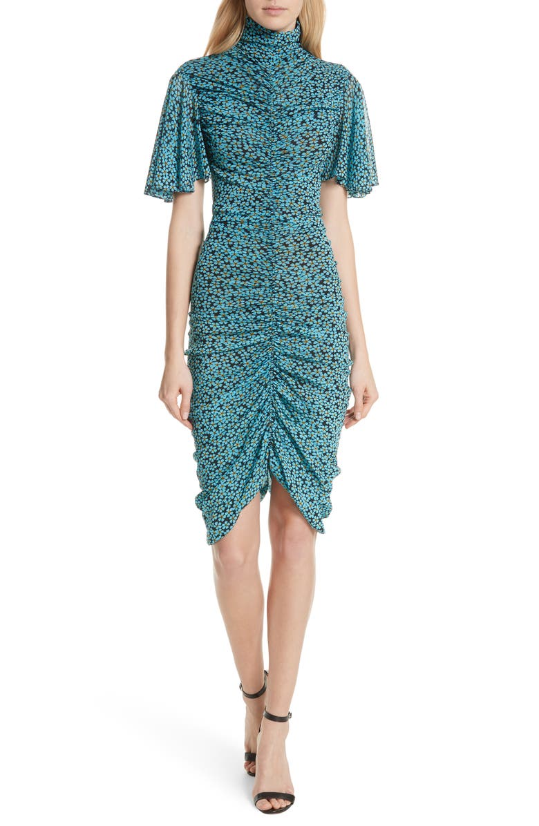 DVF Floral Ruched Flutter Sleeve High Neck Dress, Main, color, PEARSON HORIZON