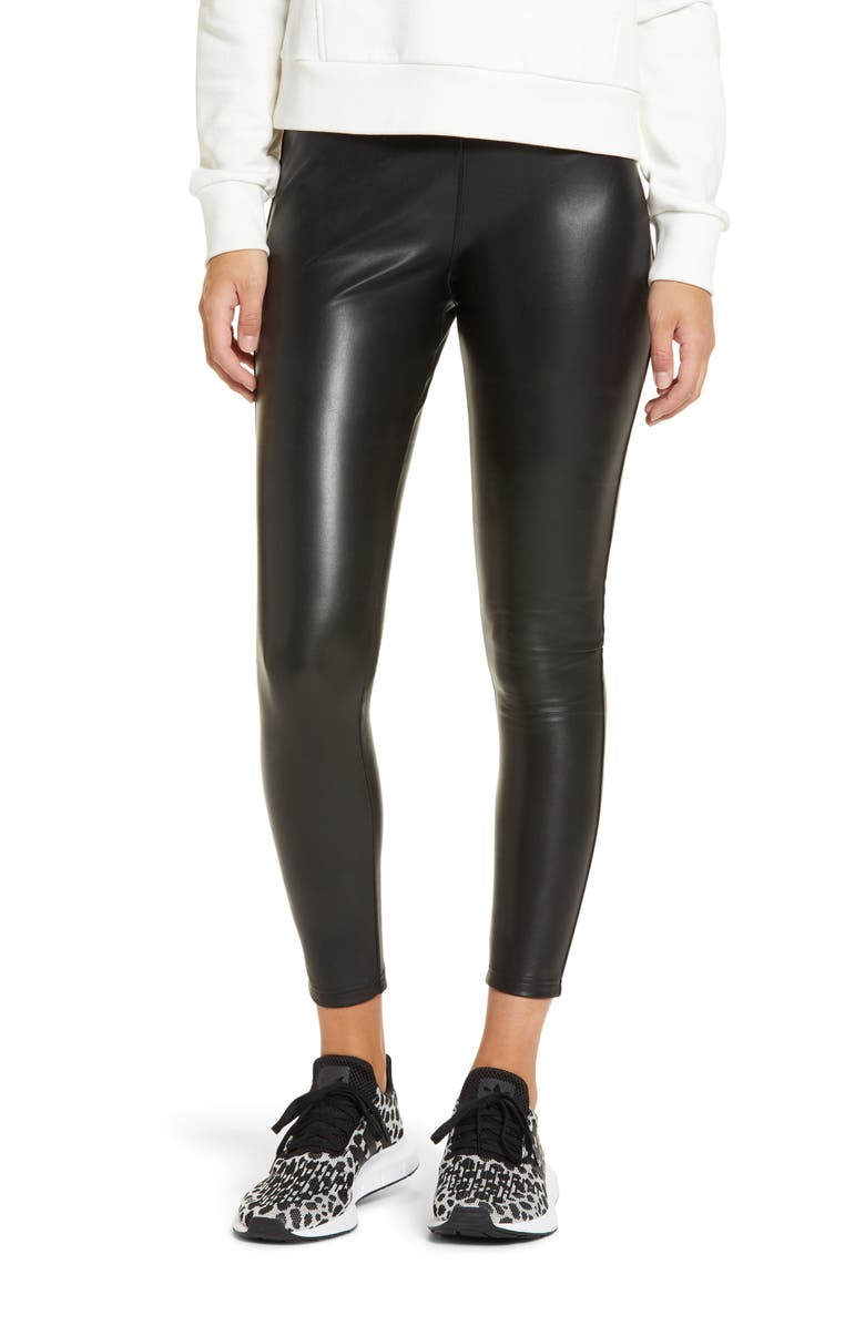 NORDSTROM Faux Leather Leggings, Main, color, BLACK