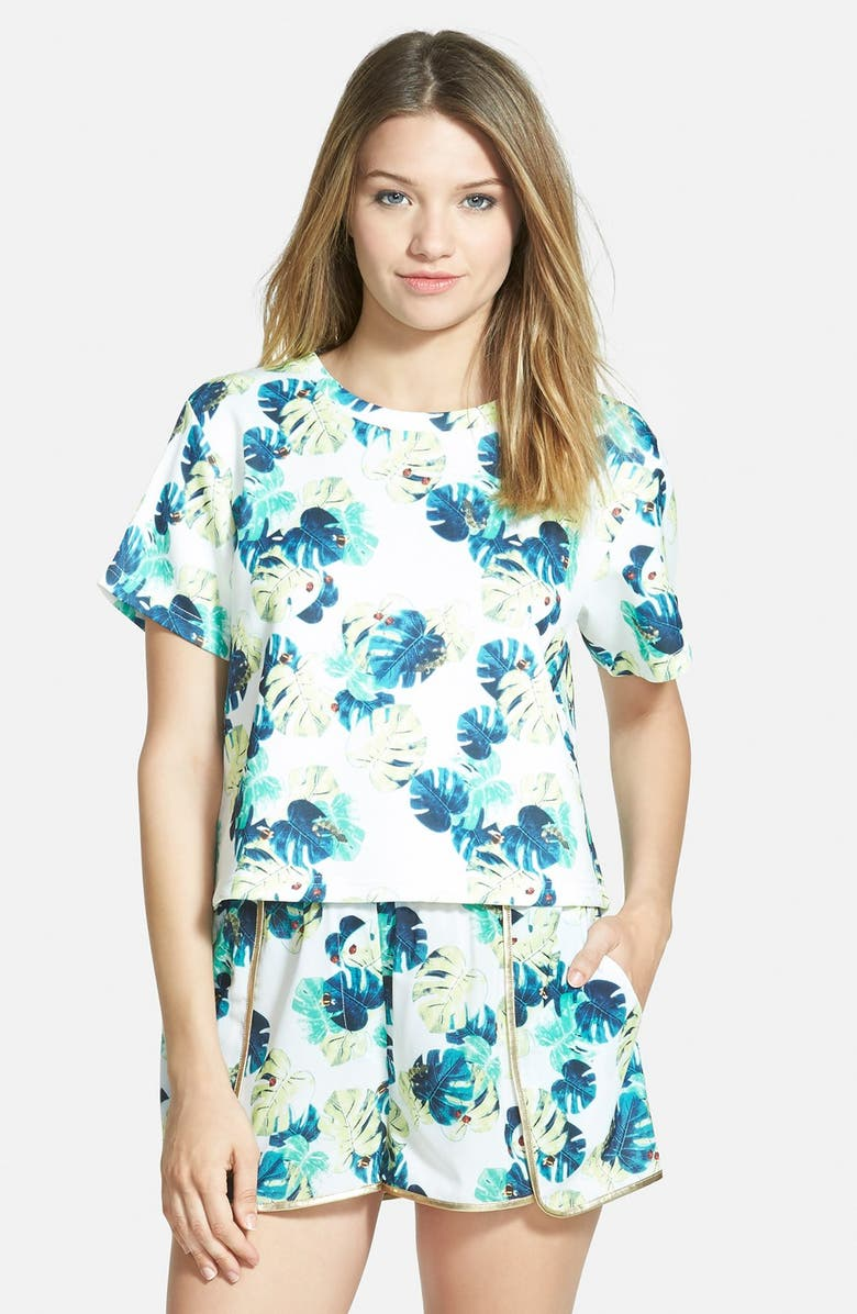 WHITNEY EVE Short Sleeve Crop Top, Main, color, WHITE PALM