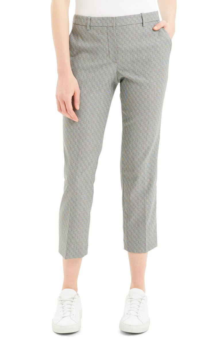 THEORY Textured Check Crop Wool Blend Trousers, Main, color, 010
