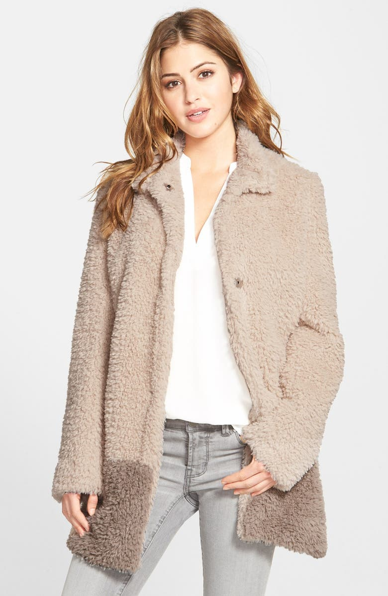 KENNETH COLE NEW YORK 'Teddy Bear' Colorblock Faux Fur Coat, Main, color, IVORY/ NATURAL
