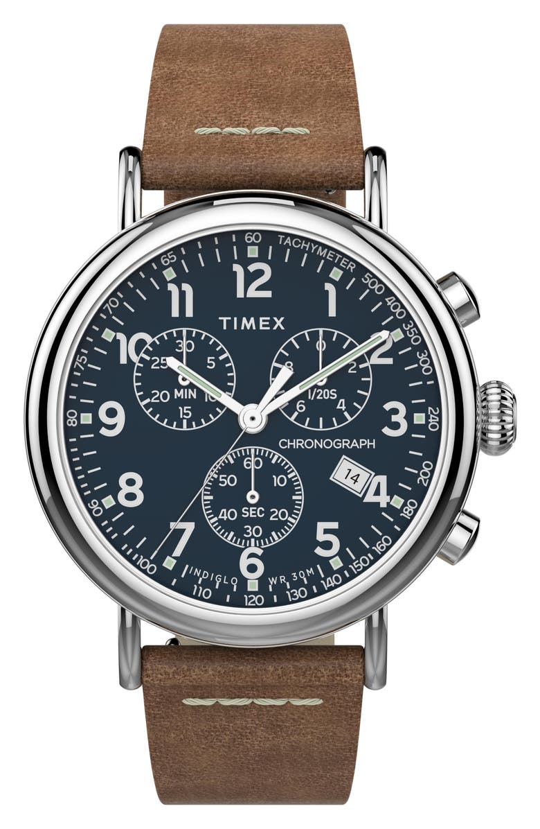 TIMEX<SUP>®</SUP> Waterbury Standard Chronograph Leather Strap Watch, 41mm, Main, color, BROWN/ BLUE/ SILVER
