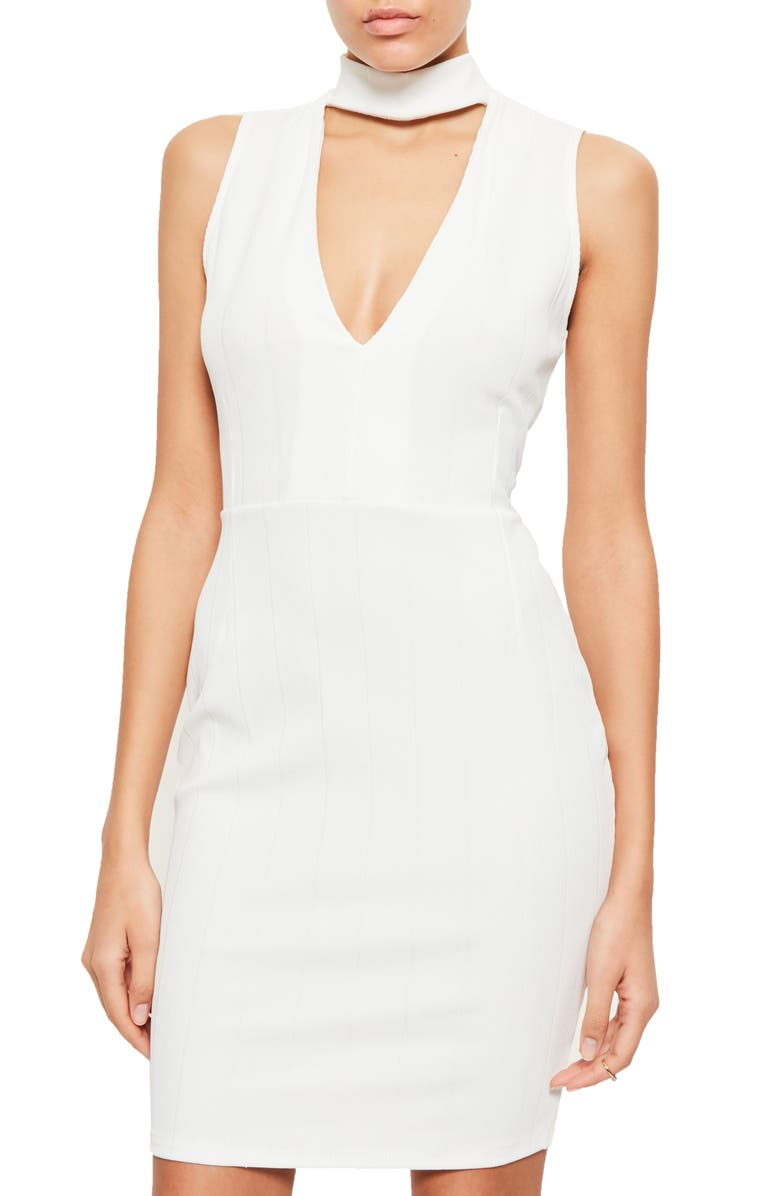 MISSGUIDED Choker Body-Con Dress, Main, color, 100