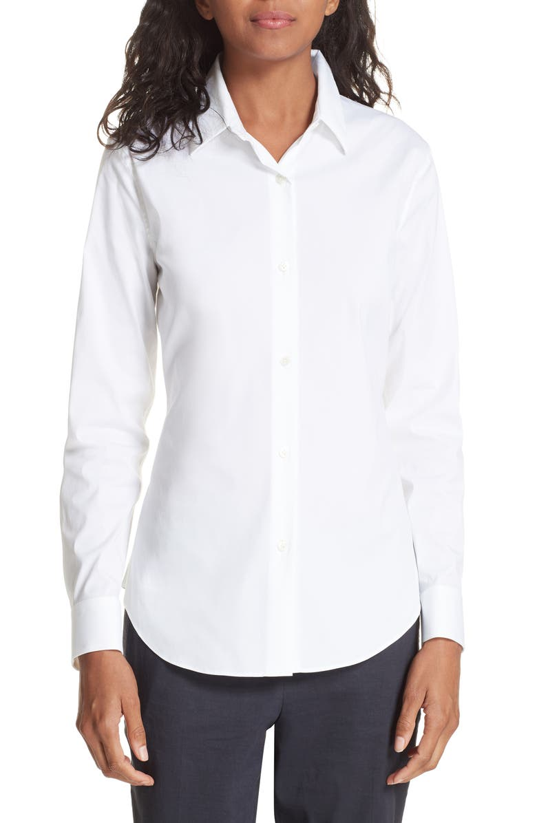 THEORY Tenia Cotton Blend Blouse, Main, color, White