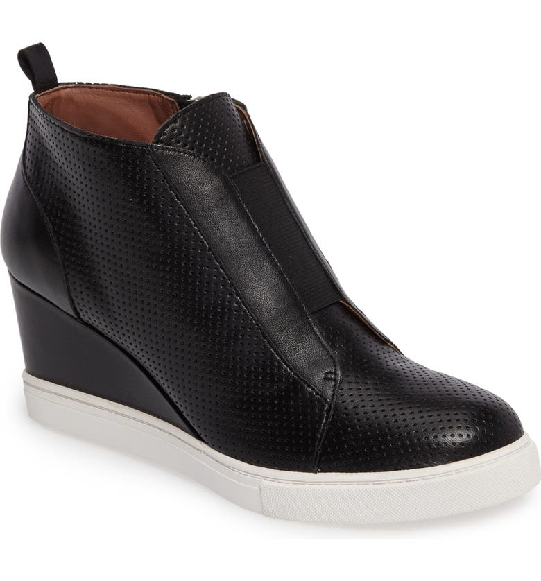 LINEA PAOLO 'Felicia' Wedge Sneaker, Main, color, BLACK PERF NAPPA