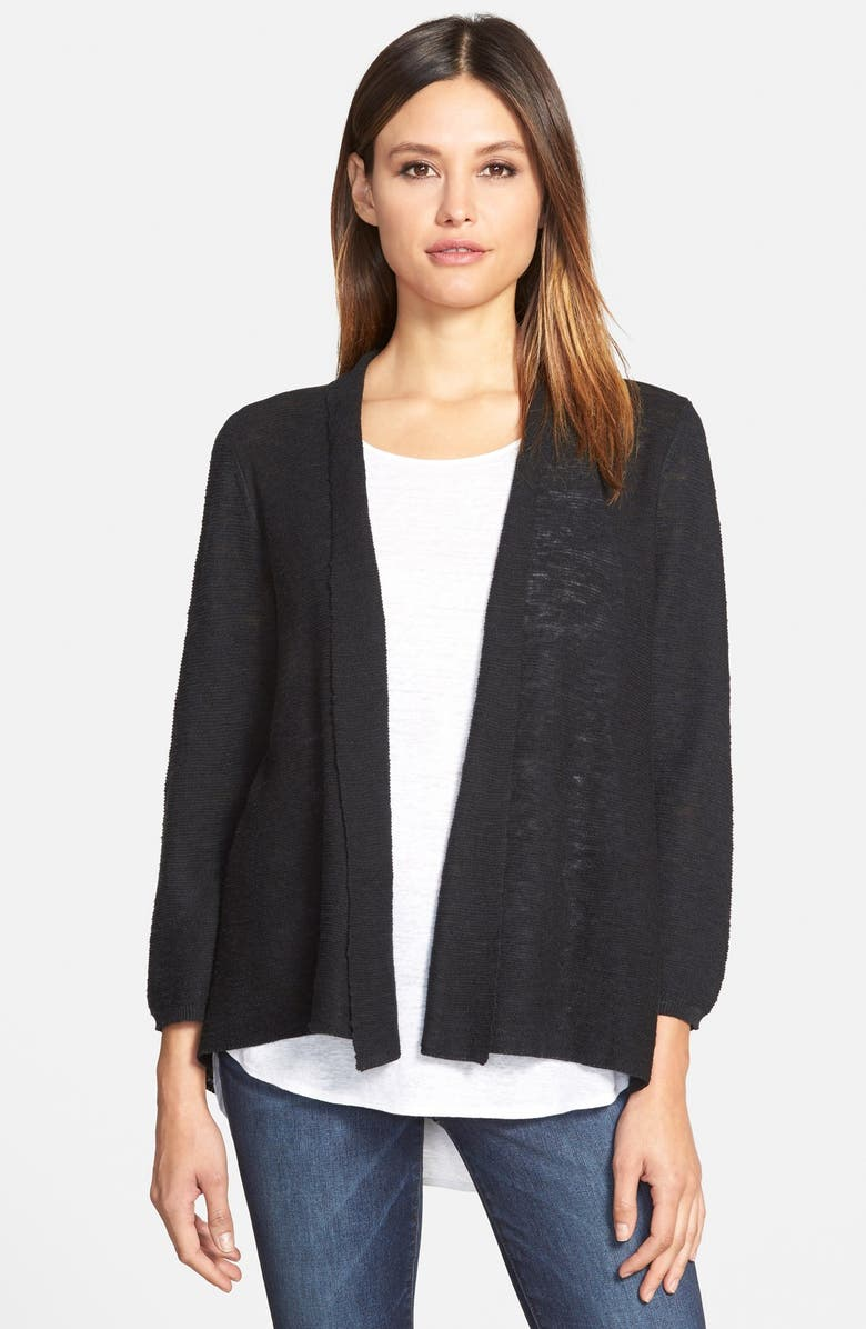 EILEEN FISHER Organic Linen & Cotton Open Front Cardigan, Main, color, 001