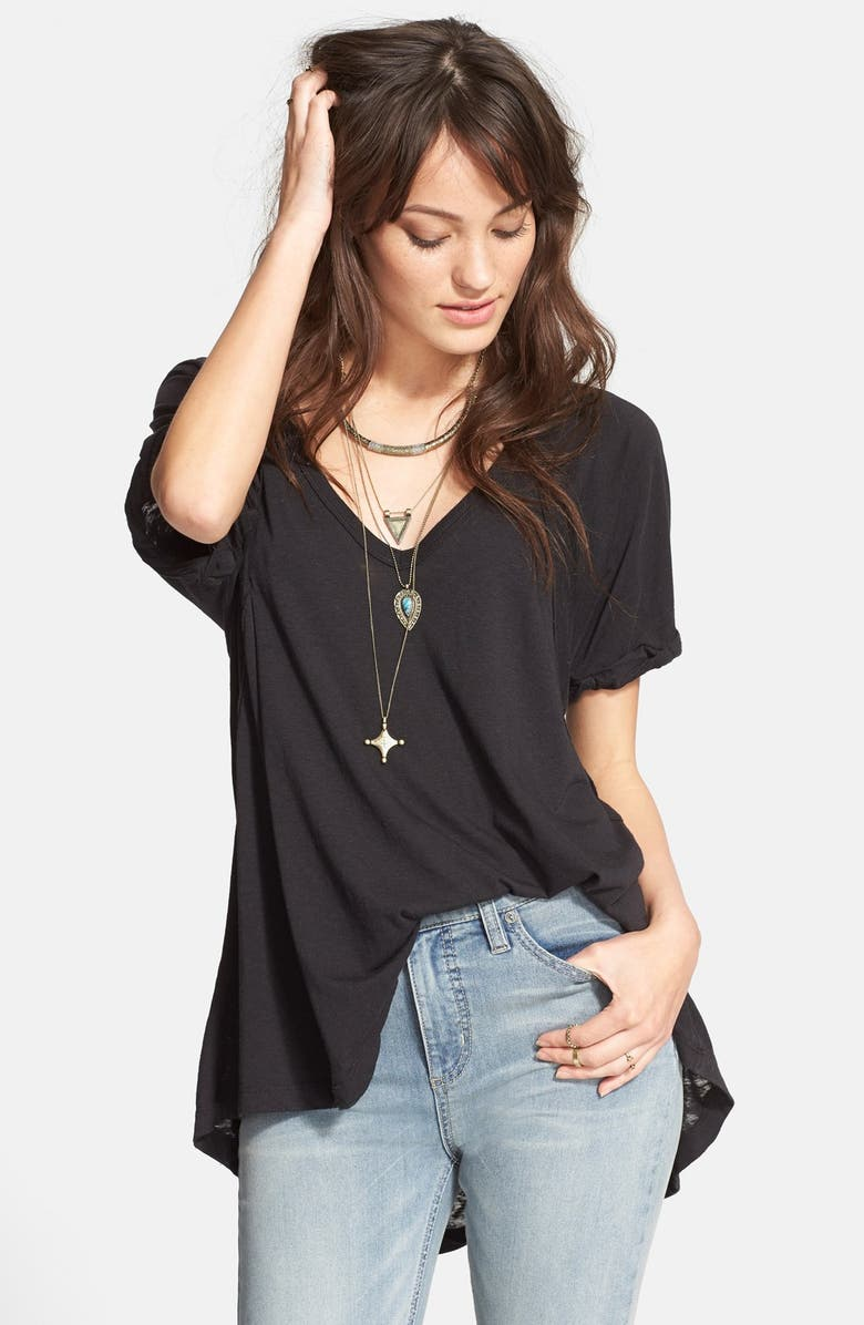 FREE PEOPLE 'Free Falling' Shirttail V-Neck Tee, Main, color, 002