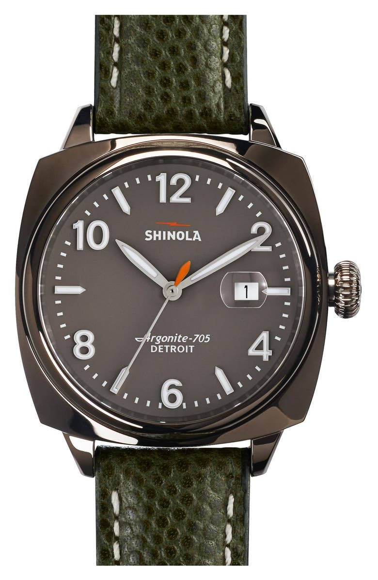 SHINOLA 'The Brakeman' Leather Strap Watch, 40mm, Main, color, 300