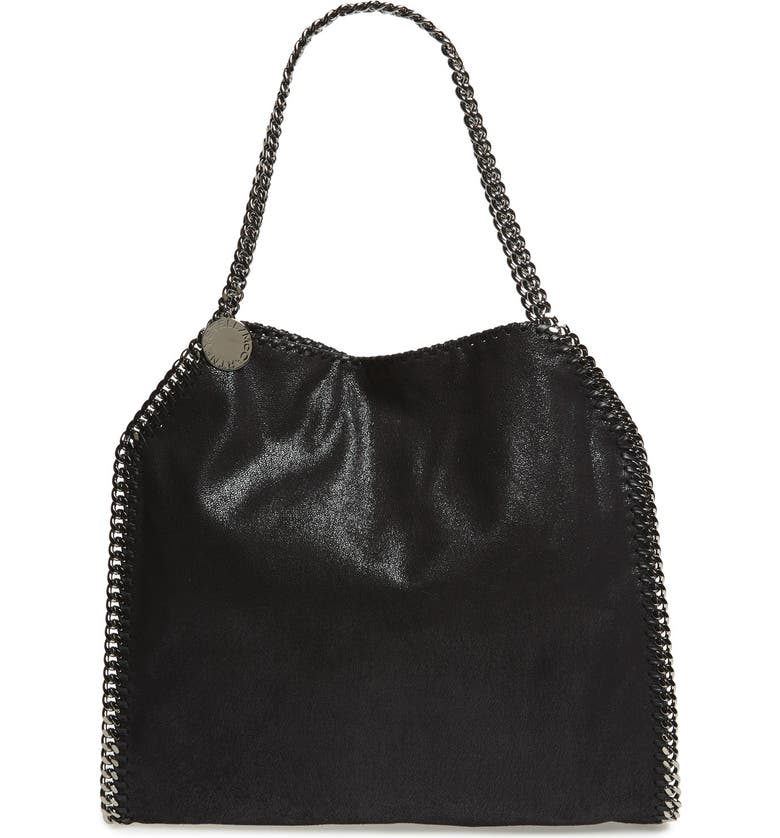 STELLA MCCARTNEY 'Small Falabella - Shaggy Deer' Faux Leather Tote, Main, color, BLACK