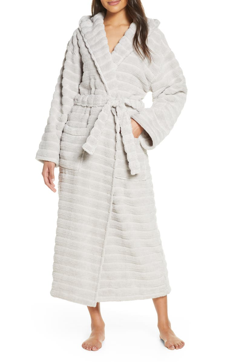 THE WHITE COMPANY Hooded Ribbed Hydrocotton Robe, Main, color, 020