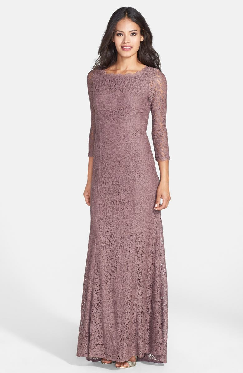 ADRIANNA PAPELL Scalloped Lace Gown, Main, color, CAPPUCCINO