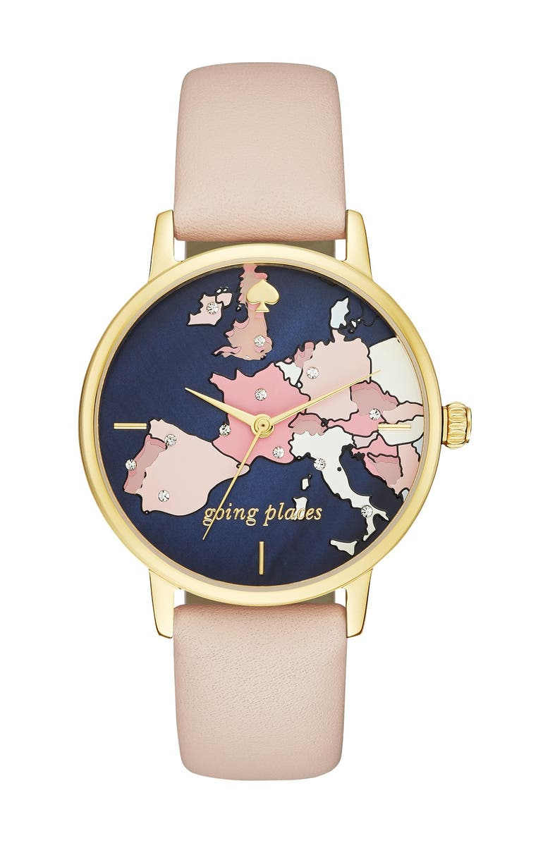 KATE SPADE NEW YORK 'metro' leather strap watch, 34mm, Main, color, 000