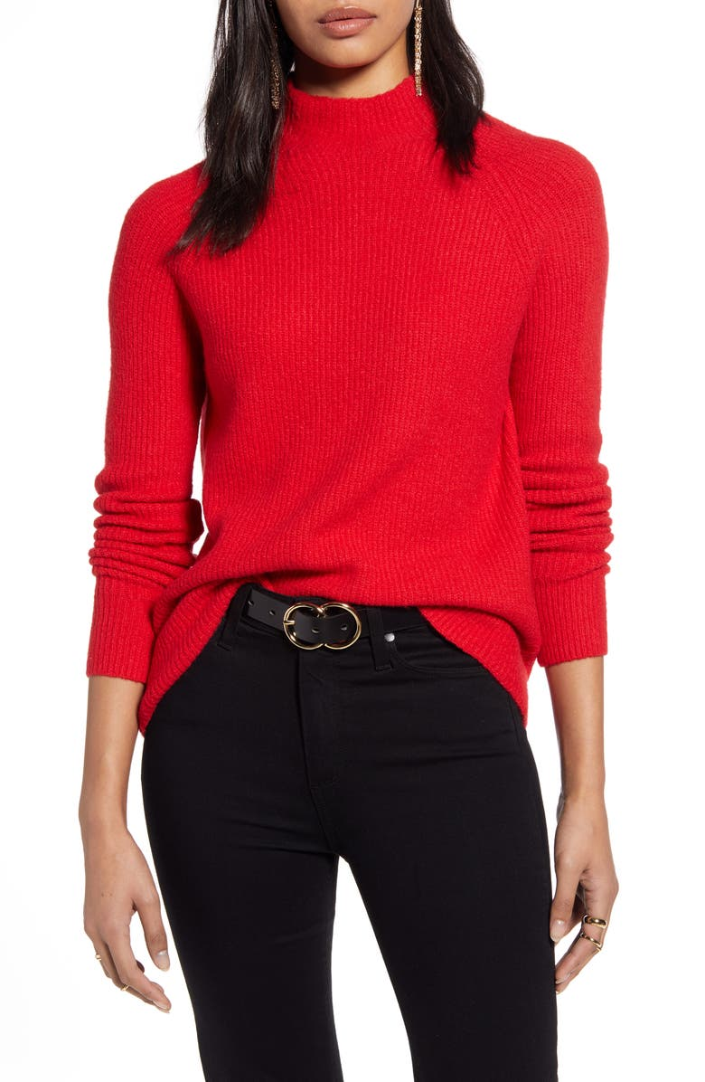 HALOGEN<SUP>®</SUP> Mock Neck Sweater, Main, color, RED CHINOISE