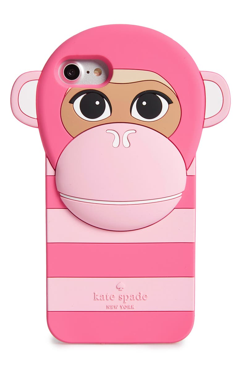 KATE SPADE NEW YORK monkey silicone iPhone 7 case, Main, color, 673