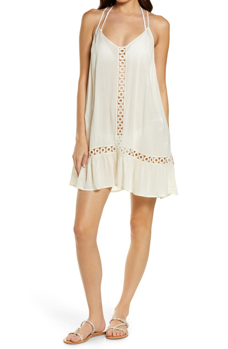 CHELSEA28 Emilee Tassel Cover-Up Dress, Main, color, IVORY SHADOW