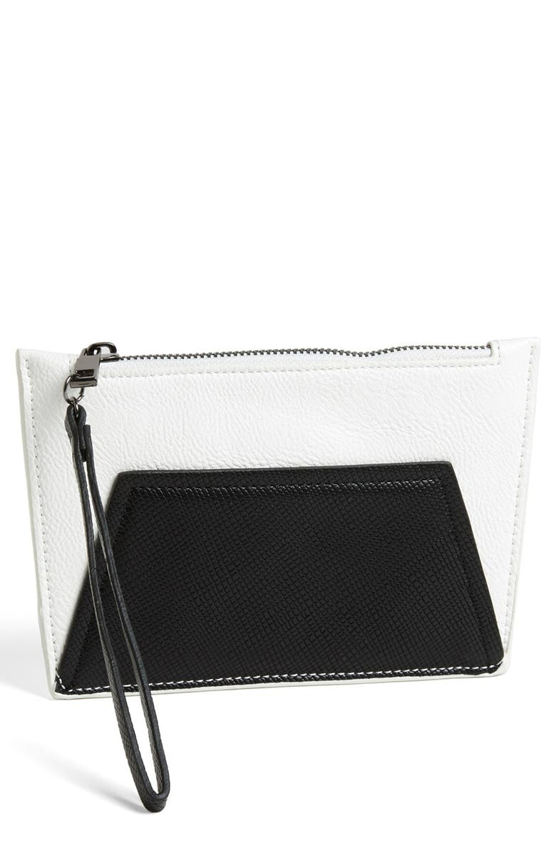 POVERTY FLATS BY RIAN 'Geo Maude' Faux Leather Wristlet, Main, color, 001