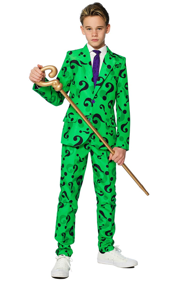SUITMEISTER Kids' The Riddler Two-Piece Suit with Tie, Main, color, GREEN