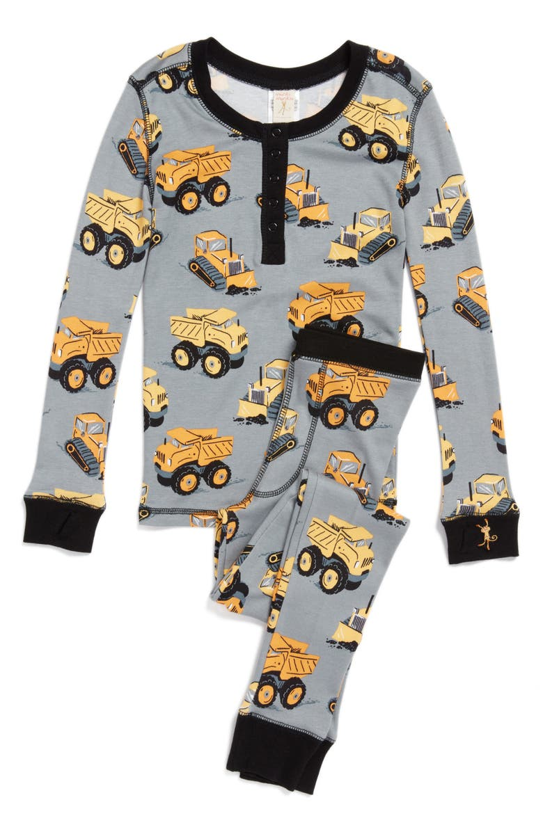 MUNKI MUNKI Construction Trucks Fitted Two-Piece Pajamas, Main, color, 034
